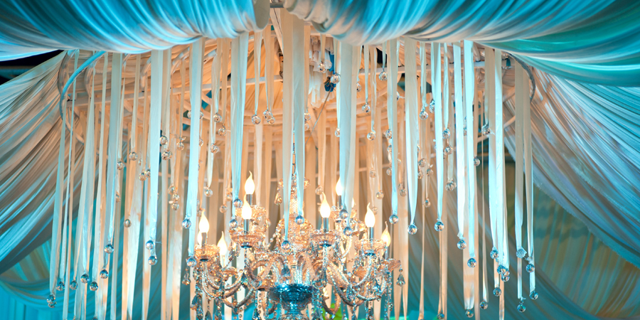 blue draped chandelier
