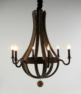 wine barrel chandelier